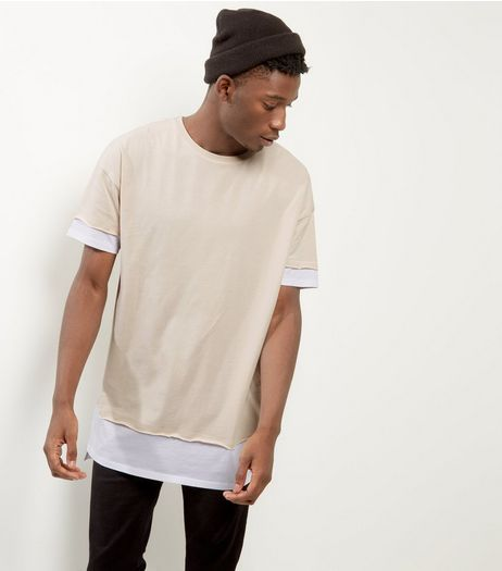 Stone Layered Longline T-shirt | New Look