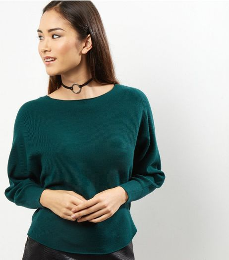 Apricot Dark Green Ribbed Batwing Sleeve Jumper  | New Look