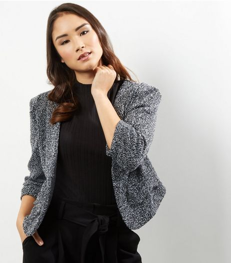 Apricot Grey Boucle Texture Cropped Blazer  | New Look