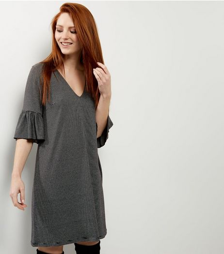 Light Grey Bell Sleeve V Neck T-Shirt Dress  | New Look