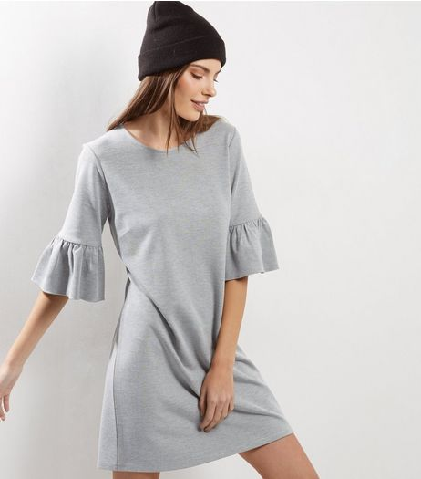 Grey Bell Sleeve T-Shirt Dress  | New Look