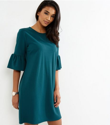 Dark Green Bell Sleeve Tunic Dress | New Look