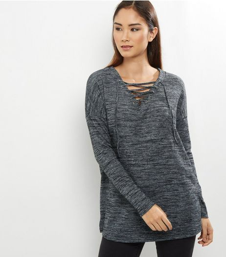 Apricot Grey Lattice Front Jersey Top  | New Look