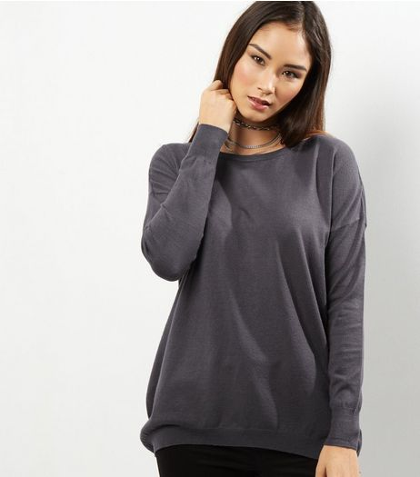 Apricot Grey Basic Zip Back Jumper  | New Look