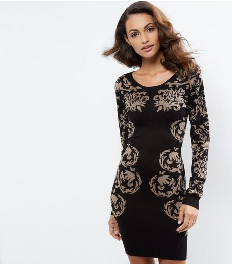 Apricot Black Floral Print Jumper Dress | New Look