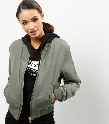 Apricot Khaki Quilted Bomber Jacket | New Look