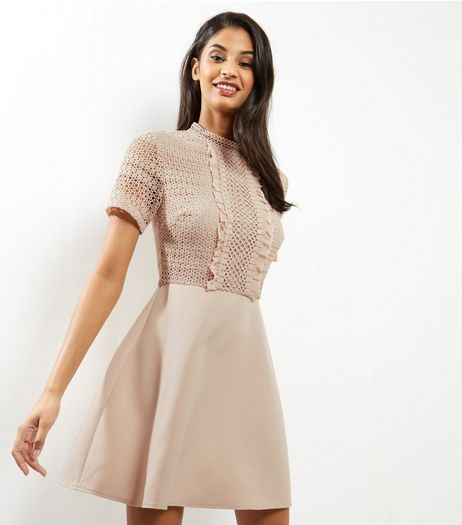Shell Pink Lace Frill Trim Skater Dress | New Look