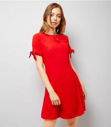 Red Tie Sleeve Dress | New Look