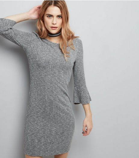 Grey Ribbed Bell Sleeve Bodycon Dress | New Look