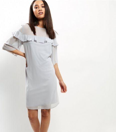 Grey Chiffon Frill Trim 1/2 Sleeve Tunic Dress | New Look