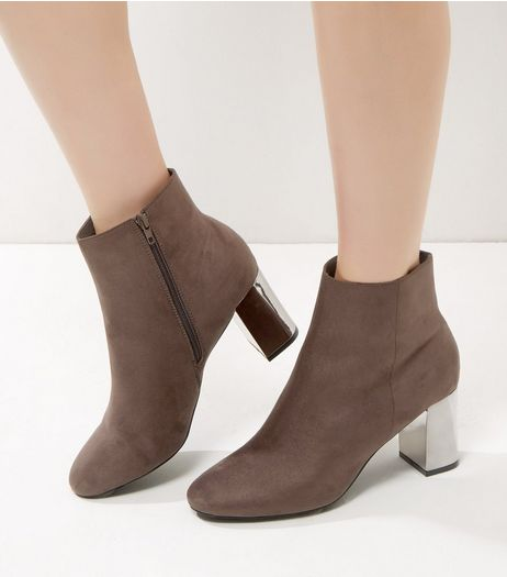 Grey Suedette Metal Heeled Boots | New Look