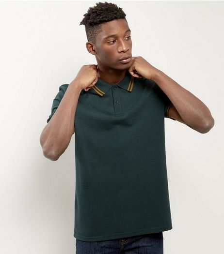 Dark Green Contrast Trim Polo Shirt | New Look