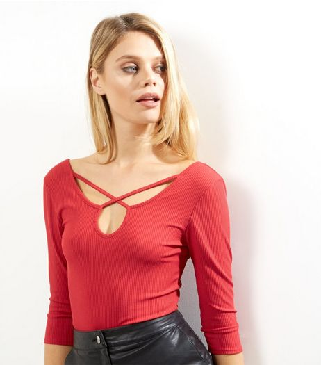 Red Ribbed Cross Strap 3/4 Sleeve Top | New Look
