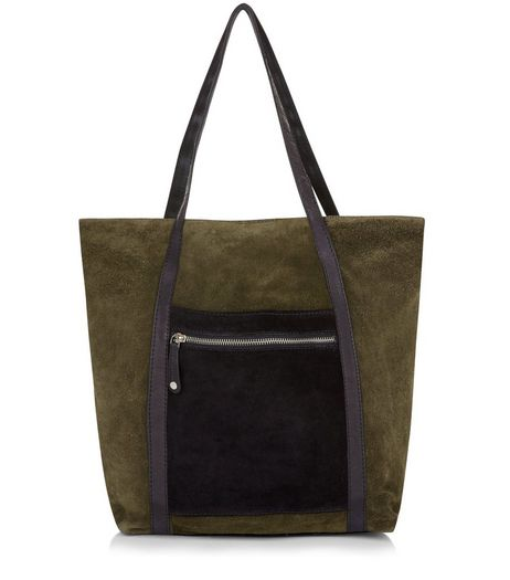 Khaki Suede Shopper Bag | New Look