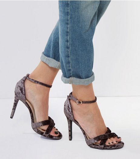Wide Fit Grey Velvet Cross Front Heels | New Look