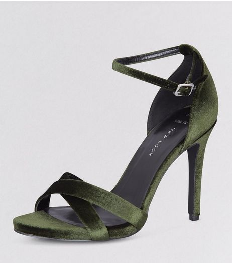 Wide Fit Khaki Velvet Cross Strap Heels  | New Look