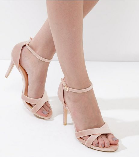 Wide Fit Light Pink Velvet Cross Strap Heels | New Look