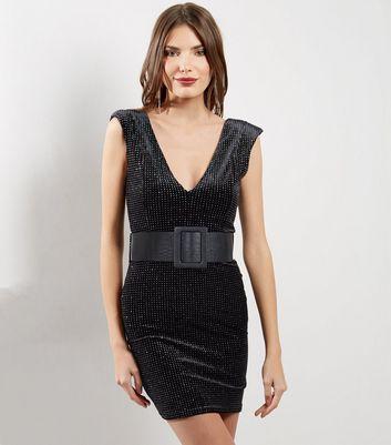 Black V Neck Glitter Velvet Bodycon Dress