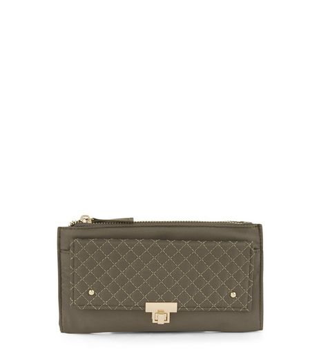 Khaki Quilted Panel Purse | New Look