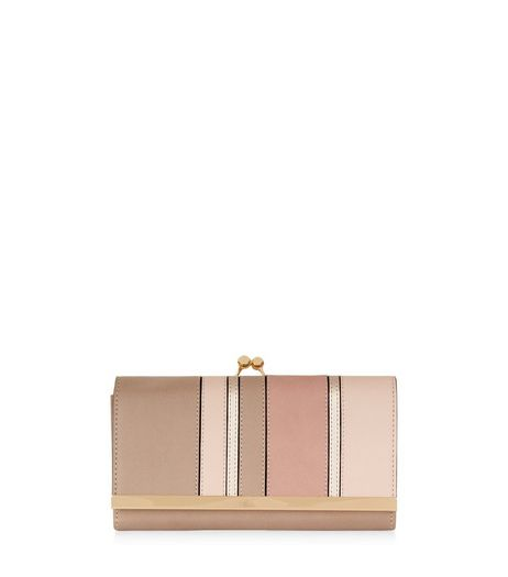 Shell Pink Metallic Panel Purse | New Look