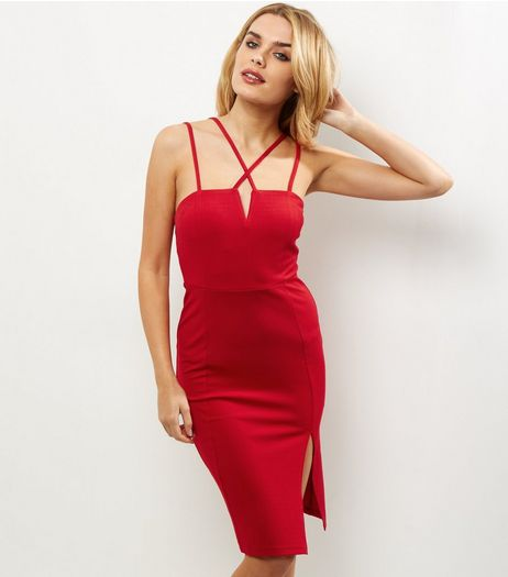 Red Strappy Split Side Bodycon Dress | New Look