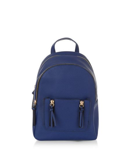 Blue Tassel Zip Mini Backpack | New Look
