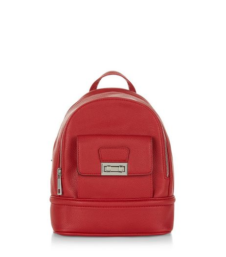 Red Curved Mini Backpack  | New Look