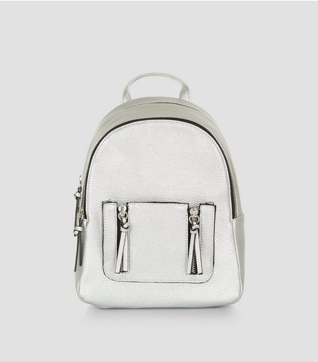 Silver Tassel Zip Mini Backpack | New Look