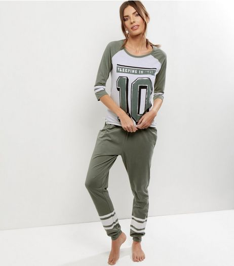 Petite Khaki Sleeping In Til 10 Pyjama Set | New Look