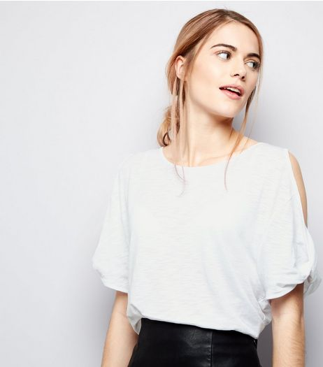White Twist Cold Shoulder T-Shirt  | New Look