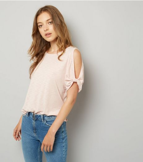 Pink Twist Sleeve Cold Shoulder T-Shirt | New Look