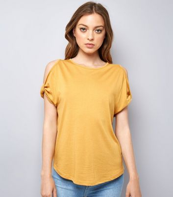 Yellow Twist Sleeve Cold Shoulder T-Shirt