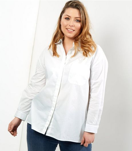 Curves White Long Sleeve Shirt | New Look
