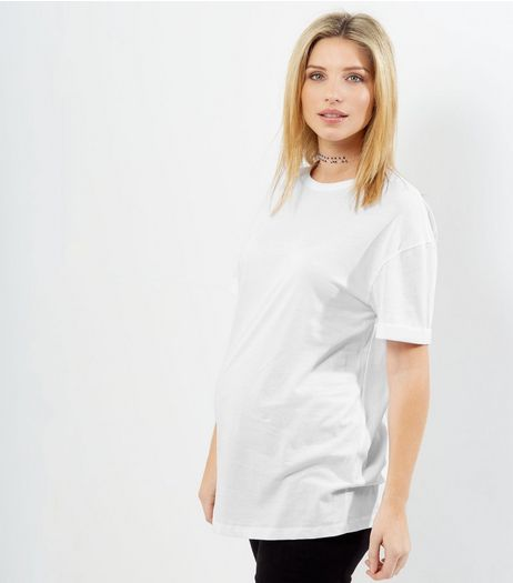 Maternity White Rolled Sleeve Oversized T-shirt  | New Look