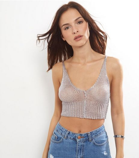 Cameo Rose Silver Ribbed Metallic Crop Top  | New Look