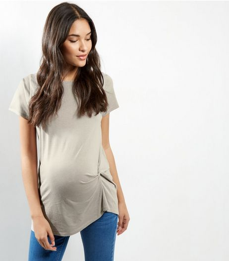 Maternity Grey Knot Side T-shirt | New Look