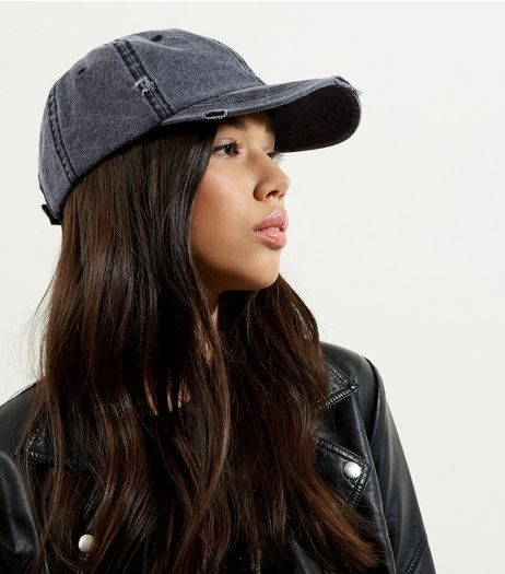 Grey Distressed Denim Cap | New Look