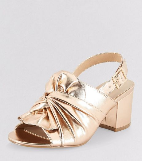 Teens Rose Gold Bow Front Sling Back Heels | New Look