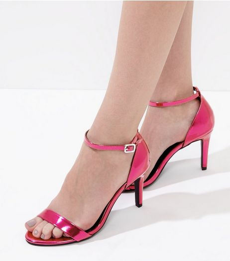 Wide Fit Pink Metallic Ankle Strap Heels | New Look