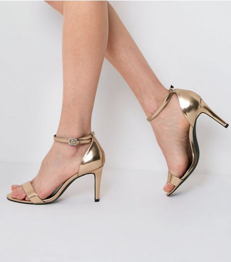 Wide Fit Rose Gold Metallic Ankle Strap Heels | New Look
