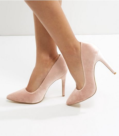 Wide Fit Pink Velvet Pointed Court Shoes | New Look