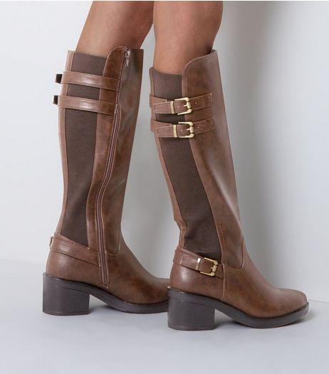 Wide Fit Brown Buckle Trim Riding Boots  | New Look