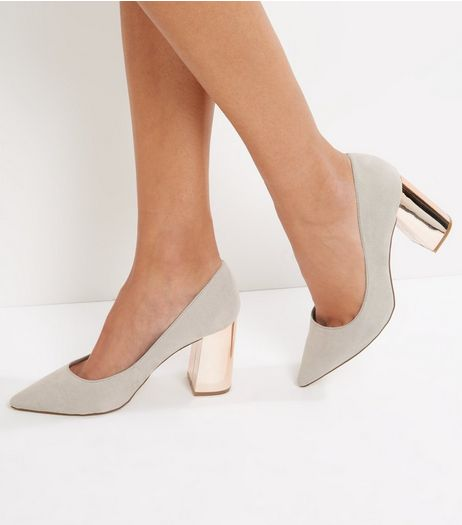 Wide Fit Grey Suedette Metal Heel Pointed Court Shoes | New Look