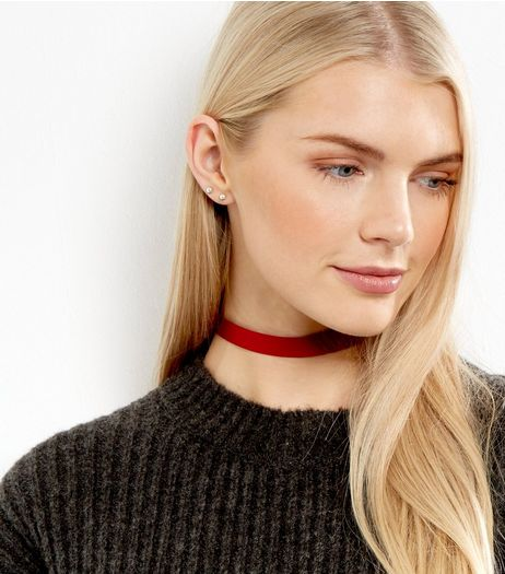 Red Matte Sateen Choker | New Look
