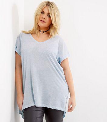 Curves Pale Blue Split Back T-Shirt