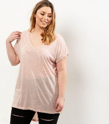 Curves Pink Split Back T-Shirt