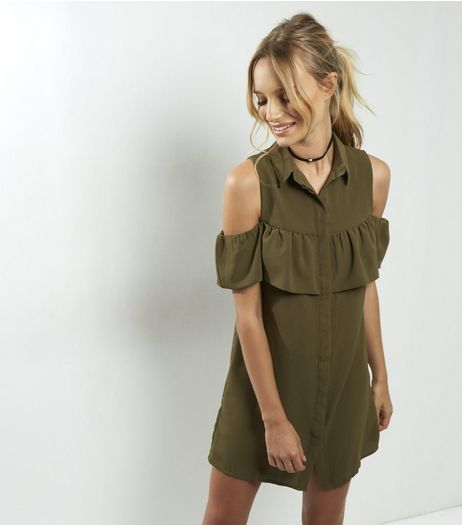 Petite Khaki Frill Trim Cold Shoulder Shirt Dress | New Look