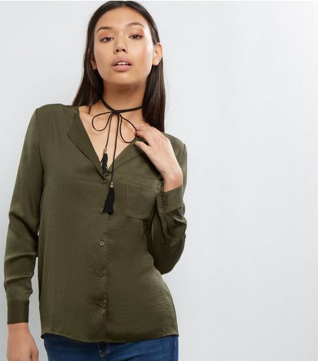 Petite Khaki Sateen Pyjama Style Shirt | New Look