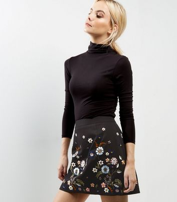 Product photo of Petite black floral embroidered aline skirt