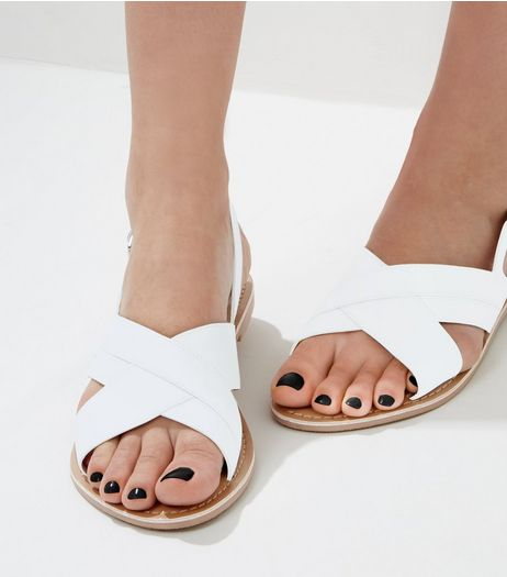 White Leather Cross Strap Sling Back Sandals  | New Look